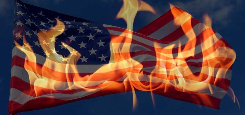 Fiery King's Crown over American Flag